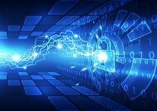 Sicurezza astratta di tecnologia sul fondo della rete globale, illustrazione di vettore Fotografia Stock