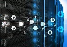 Sicurezza cyber, protezione dei dati, segretezza di informazioni Concetto di tecnologia e di Internet fotografia stock