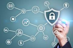Sicurezza cyber, protezione dei dati, sicurezza di informazioni Concetto di tecnologia di Internet Immagine Stock Libera da Diritti