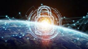 Sicurezza cyber sulla rappresentazione del pianeta Terra 3D Fotografie Stock Libere da Diritti