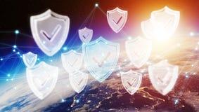 Sicurezza cyber sulla rappresentazione del pianeta Terra 3D Immagine Stock