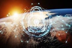 Sicurezza cyber sulla rappresentazione del pianeta Terra 3D Fotografia Stock