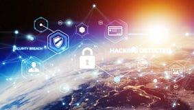 Sicurezza cyber sulla rappresentazione del pianeta Terra 3D Fotografia Stock Libera da Diritti