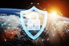 Sicurezza cyber sulla rappresentazione del pianeta Terra 3D Immagine Stock Libera da Diritti
