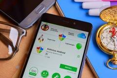 Sicurezza dei APUS - antivirus pulito del virus, applicazione dello sviluppatore del ripetitore sullo schermo di Smartphone Appli immagini stock