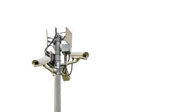 Sicurezza del CCTV isolata su bianco Fotografie Stock