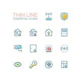 Sicurezza della Camera - singola linea sottile icone messe illustrazione di stock
