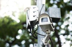 Sicurezza della macchina fotografica del cctv di sorveglianza fotografia stock