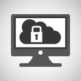 Sicurezza della nuvola del pc del monitor di tecnologia Immagini Stock