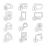 Sicurezza della rete di affari e linea di protezione dei dati illustrazione vettoriale