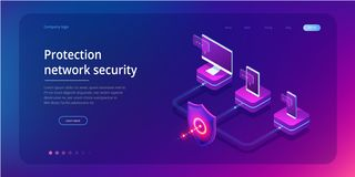 Sicurezza della rete di protezione e sicuro isometrici il vostro concetto di dati Modelli Cybersecurity di progettazione della pa illustrazione vettoriale