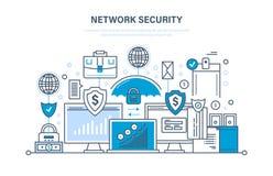Sicurezza della rete, protezione dei dati personale, sicurezza di pagamento, base di dati sicura illustrazione di stock