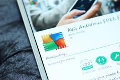 Sicurezza di AVG ed antivirus mobili app Fotografia Stock Libera da Diritti