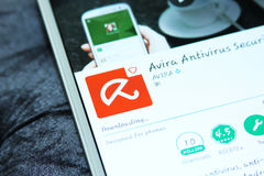 Sicurezza di Avira ed antivirus mobili app Fotografia Stock