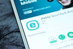 Sicurezza di Eset ed antivirus mobili app Immagine Stock Libera da Diritti