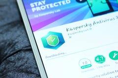 Sicurezza di Kaspersky ed antivirus mobili app Fotografia Stock Libera da Diritti