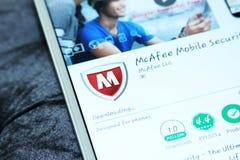 Sicurezza di Mcafee ed antivirus mobili app Fotografia Stock