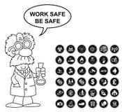 Sicurezza di rischio e raccolta dell'icona dell'ufficio illustrazione di stock