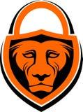 Sicurezza di riserva della serratura del leone di logo Fotografia Stock