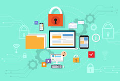 Sicurezza di stoccaggio della nuvola di dati del dispositivo del computer Immagini Stock