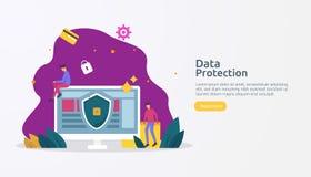 Sicurezza e protezione dei dati confidenziale Sicurezza della rete internet di VPN Concetto di segretezza personale di crittograf illustrazione vettoriale