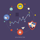 Sicurezza e protezione dei dati della rete sociale royalty illustrazione gratis