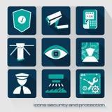 Sicurezza e protezione delle icone Fotografia Stock Libera da Diritti