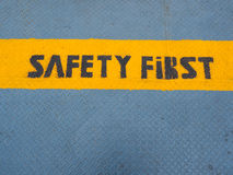 Sicurezza prima scritta sul porto Fotografie Stock Libere da Diritti