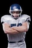 Sicuro in giocatore di football americano immagini stock