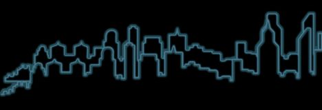 Neon skyline city with black background royalty free stock image
