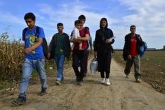 Sid的(塞尔维亚人- Croatina边界)难民 免版税库存照片