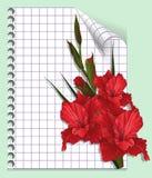 Sida av en anteckningsbok med gladiolusen Fotografering för Bildbyråer