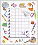 Sida av en anteckningsbok och bearbeta Arkivfoton