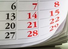 Sida av kalendern av arkivbild