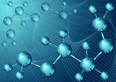Sida 5 av modell 10 för infographic med den blåa molekylära strukturen Arkivfoto