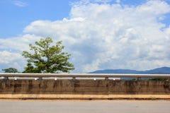 Sida av vägen med träd- och molnhimmelbakgrund royaltyfri foto