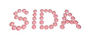 Sida di parola scritta (sussidi) con i preservativi Immagini Stock Libere da Diritti
