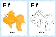 Sida för alfabetfärgläggningbok med översiktsgemkonst som färgar Lett stock illustrationer