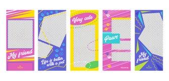 Sida för App för mycket gullig vän för husdjur för Instagram berättelse mobil Onboard skärmuppsättning Den färgrika blåa gula ros stock illustrationer