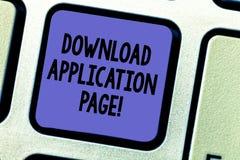 Sida för applikation för nedladdning för textteckenvisning Den begreppsmässiga fotodatoren mottar data från avsikten för internet vektor illustrationer