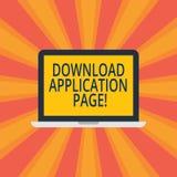 Sida för applikation för nedladdning för textteckenvisning Den begreppsmässiga fotodatoren mottar data från internetbärbara dator stock illustrationer