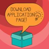 Sida för applikation för nedladdning för textteckenvisning Den begreppsmässiga fotodatoren mottar data från internetidésymbolen i royaltyfri illustrationer