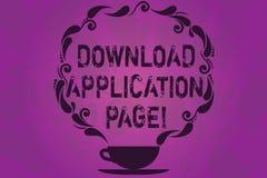 Sida för applikation för nedladdning för textteckenvisning Den begreppsmässiga fotodatoren mottar data från internetkoppen och royaltyfri illustrationer