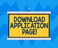 Sida för applikation för nedladdning för textteckenvisning Den begreppsmässiga fotodatoren mottar data från internetmellanrumet vektor illustrationer