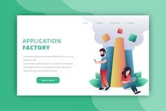 Sida för applikationfabrikslandning vektor illustrationer