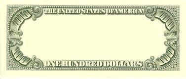 sida för blank dollar för 100 bill omvänd Arkivfoton