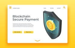 Sida för Blockchain säker betalninglandning Isometrisk design för sköldvektorrengöringsduk vektor illustrationer
