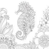 Sida för bok för färgläggning för havshäst vektor illustrationer