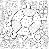 Sida för bok för färgläggning för sköldpaddahimmel vuxen Sköldpadda i trädgårds- färga sida för växt av släktet Trifolium Royaltyfri Bild