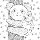 Sida för bok för pandaungefärgläggning Arkivbild